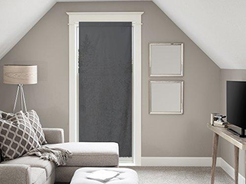 Soleil d'ocre Voile pour Porte fenêtre en Coton 70x200 cm Panama Anthracite, Gris, 200x70 cm