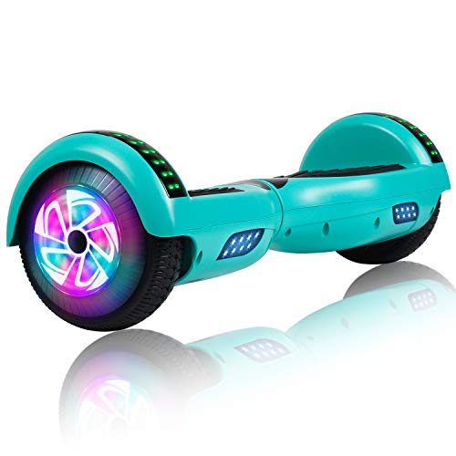 Felimoda Hoverboard, 6.5 Inch Two-Wheel Self Balancing Hoverboards - LED Light Flashing Wheel for Kids (Green)