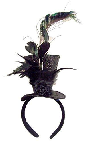 Black Sequins Steampunk Top Hat with Feathers Headband Costume Accessory