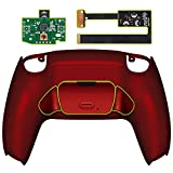 eXtremeRate Scarlet Red Back Paddles Programable Rise Remap Kit for PS5 Controller BDM-010, Upgrade Board & Redesigned Back Shell & Back Button Attachment for PS5 Controller - Controller NOT Included