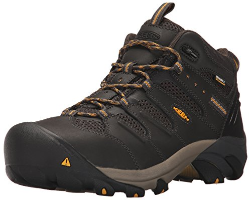 KEEN Utility Men's Lansing Mid Steel Toe Waterproof Work Boot Construction, Raven/Tawny Olive, 11 D (Medium) US