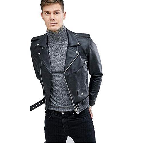 Men's Biker Rider Motorcycle Motorbike Rocker Retro Cowhide Black Leather Jacket by Reclaimed Vintage (M, Black)