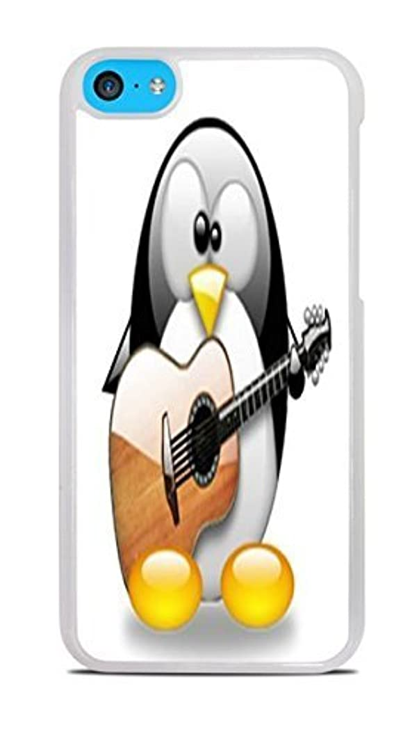 Cute Penguin Playing the Guitar White Hardshell Case for iPhone 5C