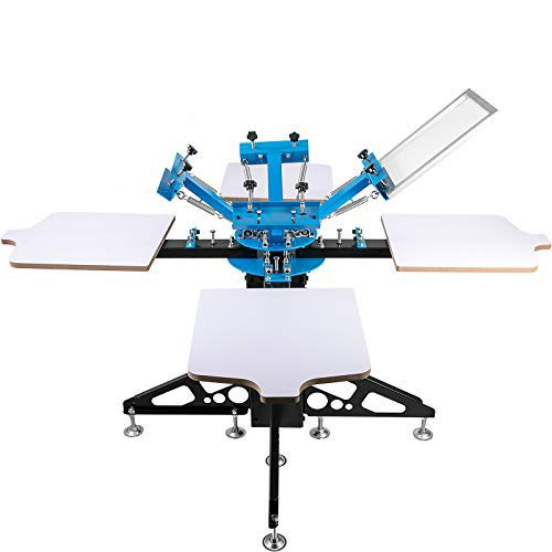 VEVOR Screen Printing Press 4 Color 4 Station Screen Printing Machine T-Shirt Printer Pressing Removable Pallet Screen Printing Kit for T-Shirt Printing