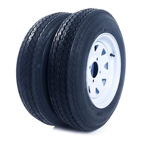 """MILLION PARTS 2PCS 12"""" 5.30-12 Trailer Tires & Rims 5.30-12 530-12 5.30 X 12 5 Lug/4.5"""" Hole Bolt White Wheel Spoke 4PR P811"""