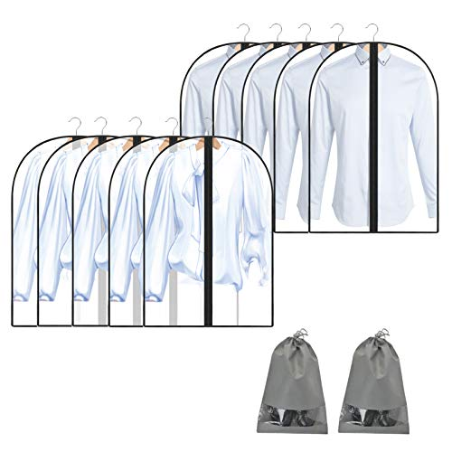 SLEEPING LAMB 50'' Extra Large Clear Hanging Garment Bags for Closet Storage Bottom Enclosed Garment Rack Cover Sealed Wardrobe Clothes Protector for Coats, Suits, Dresses