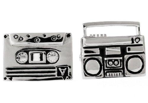 MRCUFF Boom Box and Cassette Tape DJ Pair Cufflinks in a Presentation Gift Box & Polishing Cloth