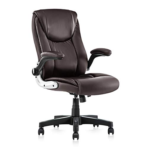SEATZONE Home Office Desk Chair, Leather-Padded Managerial Executive Chairs, Swivel Lumbar Support Adjustable Desk Task Computer Chair, Ergonomic Comfortable Gaming Chair with Armrest (Brown)