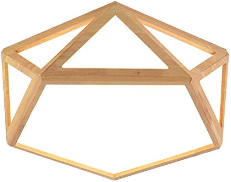 Nordic massivholz deckenleuchten, kreative led acryl holz hohlen geometrische kronleuchter moderne wohnzimmer studie kinderzimmer pendelleuchte (Edition   Weies Licht-42cm)