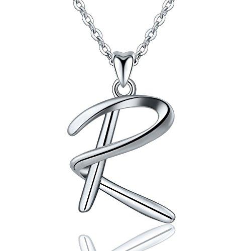 Eudora Collana Iniziale 925 Sterling Silver 26 Alfabeto Lettera Personalizzata Collane con Ciondolo Regali per Le Donne Signore Ragazze Festa della Mamma, Catena da 45 cm
