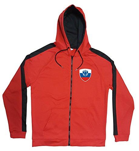 Russland Jacke Sweater Rot JA GO Russia Trikot Look Zip Nation Fussball Sport (M)