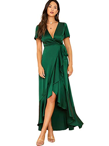 SheIn Women's V Neck Solid Satin Dress Split Sleeve Wrap Maxi Party Evening Dress Green Small