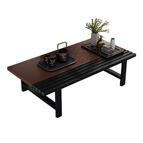 ZWJLIZI Coffee Table, Japanese-Style Sitting Table, E1 Environmental Protection Plate Table Top + Carbon Steel Steel Frame Low Table (Walnut Color) (Size : 80x60x30cm)