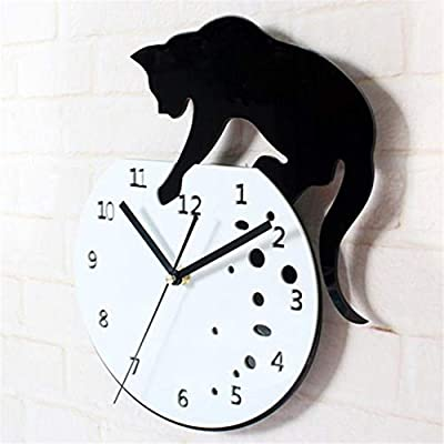 Cat on Digital Clock Acrylic Slient Wall Clock Modern Design Home Decorative Clocks for Home Office