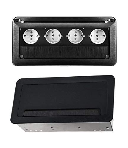 M66 - Einbausteckdose in verschiedenen Farben - wahlweise mit oder ohne Internetanschluss (4er schwarz)
