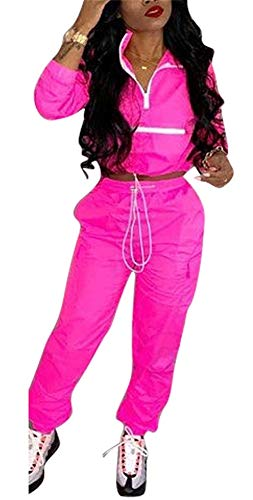 EOSIEDUR Women 2 Piece Outfits Tracksuit Jumpsuits Lightweight Windbreaker Pullover Jacket Crop Top Pants Set Medium 4-6 Rose Pink