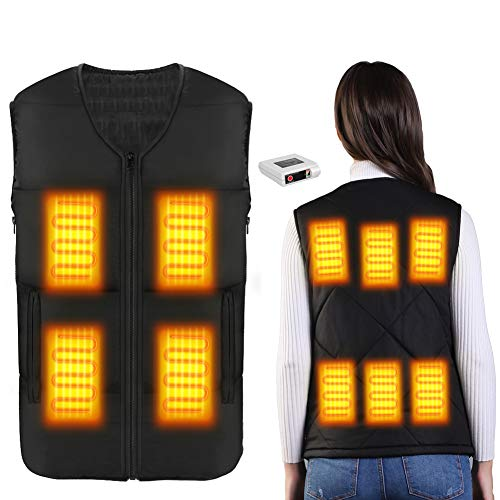 Heated Vest for Men Women Winter Warm Outdoor USB Charging Electric Heating Vest 8 Heated Zones (Battery Not Included) (Black(Battery Included), S)