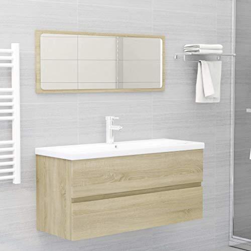 FAMIROSA Conjunto de Muebles de baño 2 Piezas aglomerado Roble Sonoma (23,6kg)