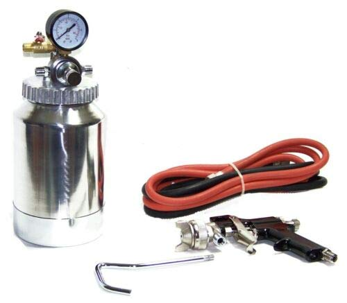 (Best tools) 2 Quart Air Paint Spray Paint Gun Tank Gauge Dual Hose Latex 2 qt 2 Quarter tank
