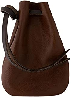 "Leather Drawstring Pouch, Coin Bag, Medicine Tobacco Pouch Medieval Reenactment Made in U.S.A. by Nabob Leather (Medium Size 5 ¾"" L x 4 ¼"" W - Brown)"