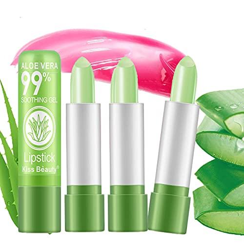 Aloë Vera Lippenstift Kleurveranderende, Langdurige Lipverzorging Voedzaam Vollere Lippenbalsem, Moisturizer Magische Temperatuur Kleurverandering Lipgloss Make-up (4PCS)