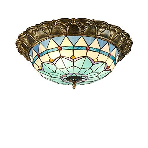 Plafoniera a LED da incasso, lampada da soffitto in stile Tiffany, illuminazione a soffitto in vetro colorato semplice mediterraneo per corridoio camera da letto,Tri color dimming,16in
