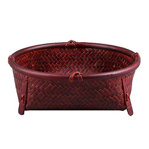 COLiJOL Fruit Bowl Polyrattan Weaved Storage Basket Round/Large Capacity Housewares Storage Fruit and Other Produce Fruit Basket (Size : 24 * 8Cm),24 * 8Cm,24 * 8Cm