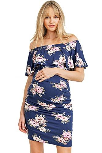 Hello MIZ Vestido de maternidad con volantes florales y hombros descubiertos para mujer, fabricado en EE. UU - azul - Small