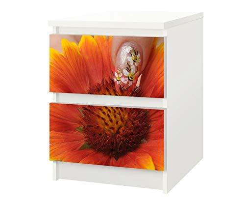 Set Möbelaufkleber für Ikea Kommode MALM 2 Fächer/Schubladen Blume gelb Nail Art Nagel Kat7 Nagelstudio Biene Aufkleber Möbelfolie sticker (Ohne Möbel) Folie 25F103