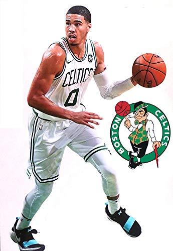 Jayson Tatum Mini FATHEAD Graphic + Celtics Logo Official NBA Vinyl Wall Graphics - This Graphic is 7' INCHES Tall
