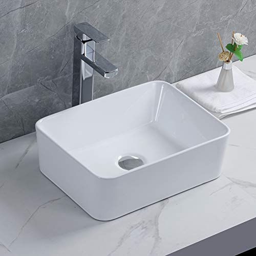 Lavabo Cerámico Lujoso en Forma Blanco, Lavabos Sobre Encimera para el Baño, Pila lavamanos Rectangularm 405*310*130mm