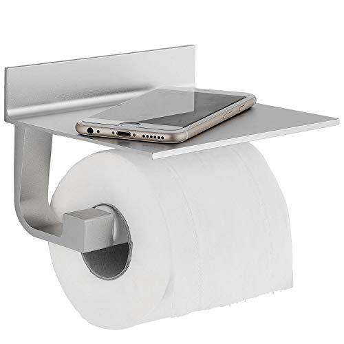 Toilettenpapierhalter ohne Bohren, Klopapierhalter Edelstahl Papierhalter Selbstklebend für Badezimmer Toilette Küche, Rostfrei, MIT Kleber, Klebstoff,Aluminium, Matte Finish
