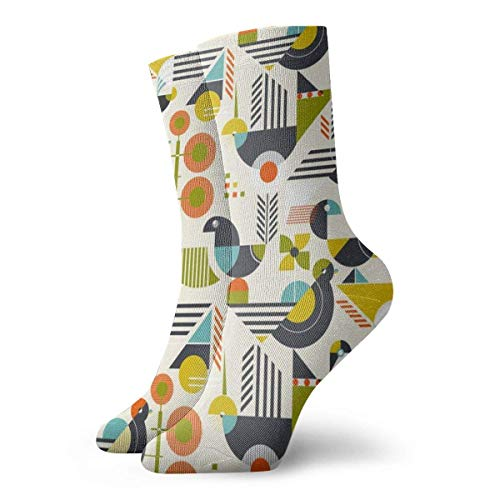 Kevin-Shop Klassiker Kompressionssocken, Bauhaus Style Birds Sport Athletic 30 cm Lange Crew-Socken für Männer Frauen