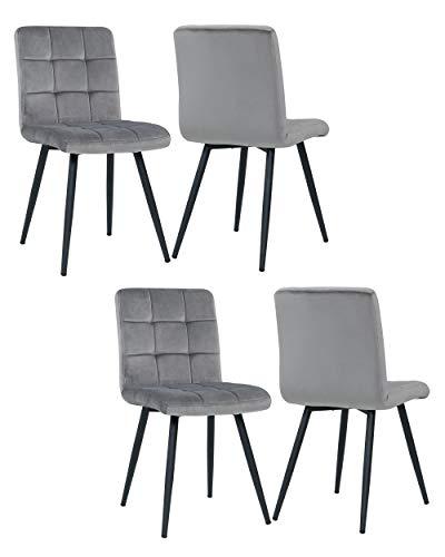 4er Set Esszimmerstuhl aus Stoff Samt Farbauswahl Stuhl Retro Design Polsterstuhl mit Rückenlehne Metallbeine Duhome 8043B, Farbe:Grau, Material:Samt