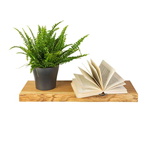 GREENHAUS Wandregal Eiche mit Baumkante 110x19x4 cm Massivholz und Handarbeit aus Deutschland Wandboard Bücherregal Regal Holz rustikal
