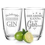 GRAVURZEILE Juego de 2 vasos de ginebra Montana – La noche puede ser beginnen & al final todo una ginebra – Regalo para buenos amigos & parejas – Gin Glasses + Gin Tonic