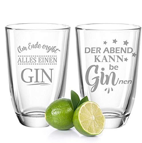 GRAVURZEILE 2er Set Montana GIN-Gläser - Der Abend kann be beGINnen & Am Ende ergibt alles einen Gin - Geschenk für gute Freunde & Partner - GIN-Glasses + GIN-Tonic