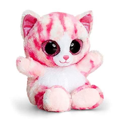 Animotsu pluche dier roze kat, pluizige metgezel met grote glitteroogjes, ca. 15 cm.