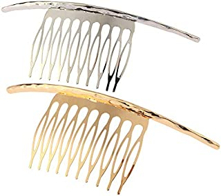 2Pcs French Twist 10 Teeths Comb Alloy Metal Bridal Wedding Hair Side Comb Headpiece Hair Jewellery Fashion Accessory for Women Girls, Gold and Silver
