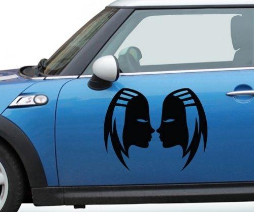 Autoaufkleber Sternzeichen Zwillinge Frau Sternbild Auto Sticker Aufkleber 5Q533, Farbe:Dunkelgrau Matt;Breite vom Motiv:55cm