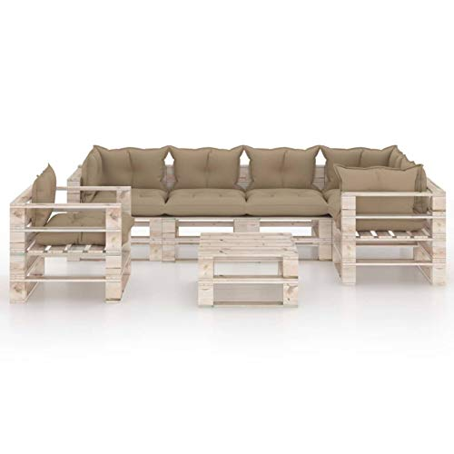 Tidyard Sofás para Patio Muebles Jardin Set de Muebles de palés para jardín 7 pzas Cojines Madera Pino 3#