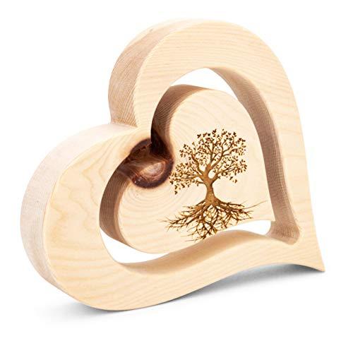 sagl.tirol 20cm Zirbenherz mit schwebendem innen Herz und Gravur (Baum des Lebens)