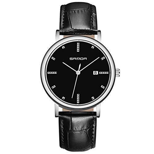 GLEMFOX analoge heren-kwartshorloge met lederen armband - met datum- en zilveren wijzers Stijlvol zakelijk herenhorloge Riemen. #1