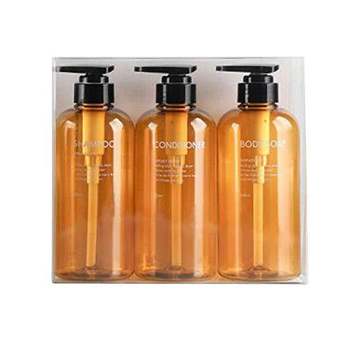 Leere Pumpflaschen, 3 Stück, 300/500 ml, Kunststoff, nachfüllbar, für Toilettenartikel, Flüssigkeitsaufbewahrung, Spender für Lotion, Shampoo, Duschgel, Creme