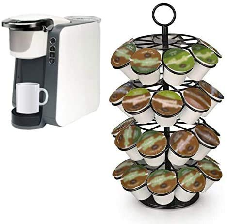 GEMM SPOT K cup Coffee Holder, K cup Carousel Holds 36 K cups. Coffee Pods Holder Storage Organizer Stand Rack Organizer Strong Electroplated Iron Stand for Home Kitchen Office Bar