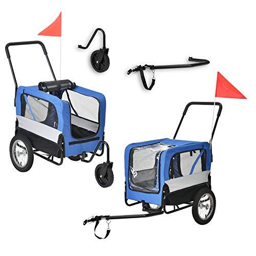 Pro-Tec Fahrradanhänger 2 in 1 Anhänger Jogger Hundeanhänger bis zu 20 kg Hunde Transport Wasserabweisend mit Wind- und Regenschutz Blau/Grau/Schwarz