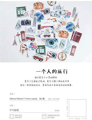 46 pegatinas japonesas kawaii de viaje, para álbumes de recortes, creativo, bricolaje, diario, etiquetas adhesivas, suministros de papelería
