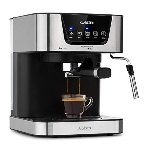 Klarstein Arabica Espressomaschine - 1050 Watt, 15 Bar, 1,5 Liter Wassertank, LED Digital-Display, abwaschbares Tropfgitter, bewegliche Aufschäumdüse, abnehmbarer Wassertank, Edelstahl