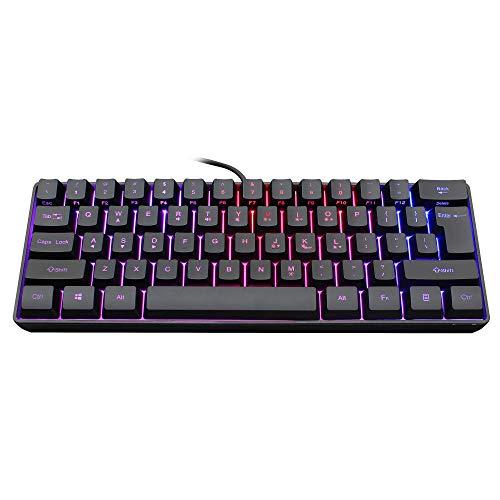 Snpurdiri 60% kabelgebundene Gaming Tastatur, ultrakompakte Mini Tastatur mit RGB-Hintergrundbeleuchtung, wasserdichte Mini-Compact-Tastatur mit 61 Tasten, für PC/Mac, Schreibkraft, Reisen,Black