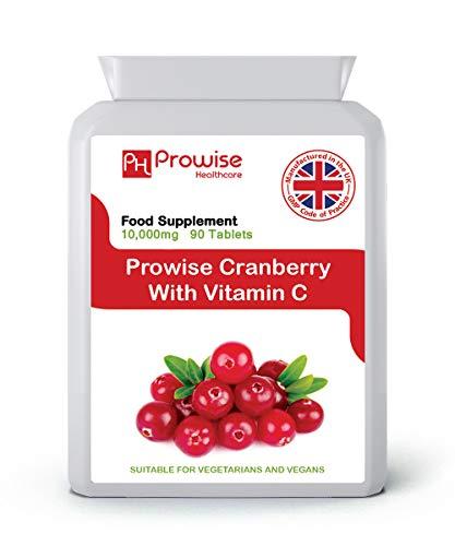 Cranberry dubbele sterkte 10.000 mg 90 tabletten met toegevoegde vitamine C - Dagelijks supplement met hoge sterkte - VK Vervaardigd volgens GMP Gegarandeerde kwaliteit - Geschikt voor vegetariërs en veganisten